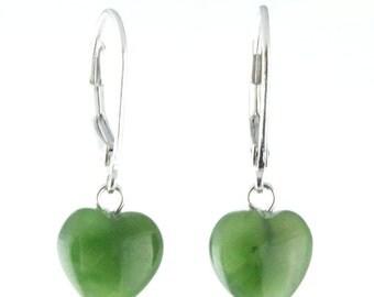 Canadian Nephrite Jade Earrings, Heart 2509