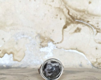 Sterling Silver Wire Wrapped Ring with Zebra Jasper | Gemstone Rings | Crystal Rings | Silver Rings | Boho Ring | Womens Gifts