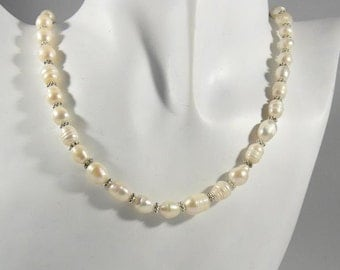 Pearls necklace, necklace, Freshwater Pearl bridal necklace Pearl, vintage necklace, freshwater pearl, necklace ivory