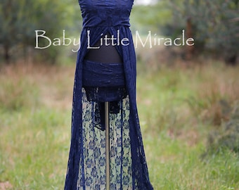 READY TO SHIP,3in1,Pamela Navy Lace Maternity Dress,Maternity Gown Photography,Maternity Photo Props,Photography Props,Maternity Gown Props,