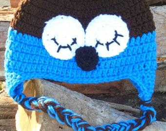 Crochet Owl Hat, Crochet Sleepy eyed owl hat, Owl Hat, Infant Owl Hat, Child Owl hat, Boys Owl Hat