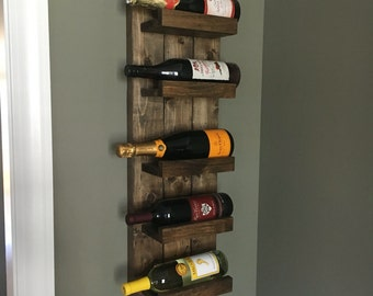 Rustic Wine Rack, Spice Rack, Wall Mounted Wine Bottle Holder & Display Shelf Vertical
