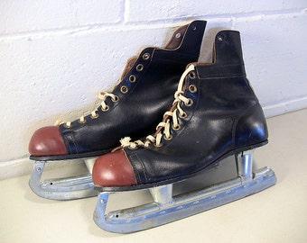Vintage Sports Equipment Vintage Ice Skates Vintage Hockey Skates Mens Ice Skates Leather Ice Skates Leather Hockey Skates Winter Sports
