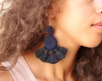 Double Disc Crochet Tassel Earrings, Handmade Tassel Earrings, Crochet Earrings