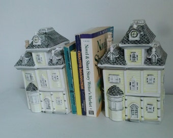 Ceramic House Cannister Book Ends Pair for   Storage and Lovely Home Decor