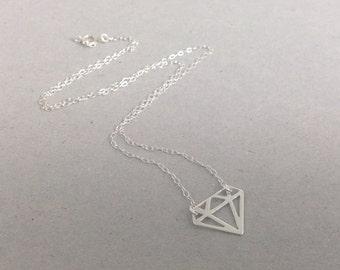 Sterling silver Geometric diamond necklace