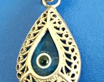 925 Silver & Glass ~ Good Luck Symbol Pendant ~ (Banishing)-Evil Eye Amulet ~ Charm for Necklace