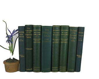 Green Antique Books , Antique Book Bundle , Green Decorative Books , Wedding Prop , Photo Prop , Green Vintage Books , Old Books