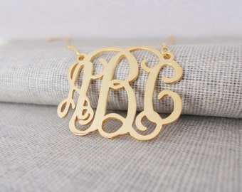Gold Monogram Necklace,Gold Monogrammed Initial Necklace,Celebrity Monogram Necklace,Nameplate Necklace Gold,Bridesmaids Gift