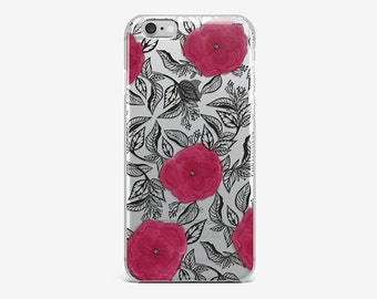 Flower iPhone 6 Clear iPhone 7 Plus Case Roses iPhone 7 Hard Case Transparent iPhone SE Floral iPhone 6 Plus iPhone 4-5 Clear iPhone 6 Cover