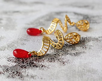red studs drop earrings spiral jewelry novelty earrings elegant studs romantic earrings modern earrings hostess gifts wife birthday пя22