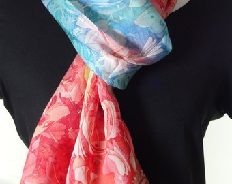 Coral/Red/Aqua Long Chiffon Scarf/Shawl, Unique Design, 3D fractal, lightweight shawl, unique gifts for her, womens scarves