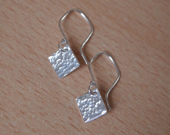 Sterling silver earrings, diamond drop earrings, minimalist, handmade, sterling 925