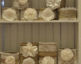 NEW 12 Mason Jar Sleeves, Wedding Centerpieces, Mason Jar Decorations, Burlap Wedding,  Rustic Wedding, Jar Not Included, Mason Jar Wraps