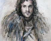 Original Watercolor Painting Of John Snow (Game Of Thrones), Size 24x30 cm