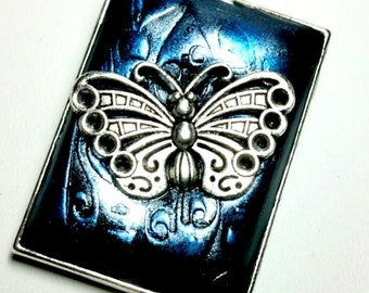 Blue Butterfly Pendant Handmade by Me FREE SHIPPING!