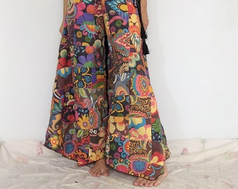 Colorful Patchwork Wide-leg Pants Skirt Pants (WL-463)