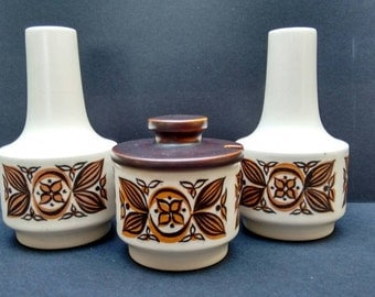 Lovely Hornsea County cruet set, 1960s, black and brown leaf design, salt, pepper and mustard, retro style, vintage English tableware