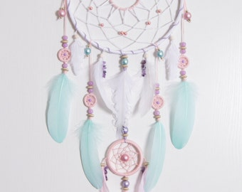 Large Pink Mint Dream Catcher Bohemian Dreamcatcher Boho stale Dreamcatchers natural stone amethyst wall decor wedding decor wall hanging