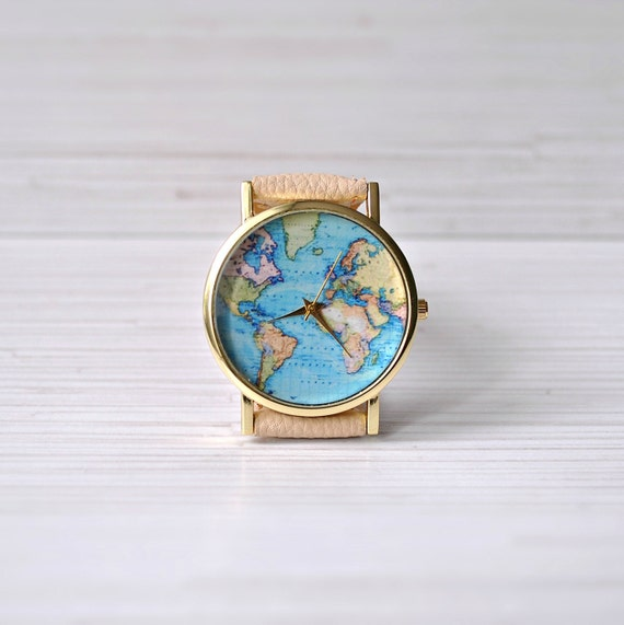 Gift for her map watch travel gift gift for women world like this item gumiabroncs Image collections