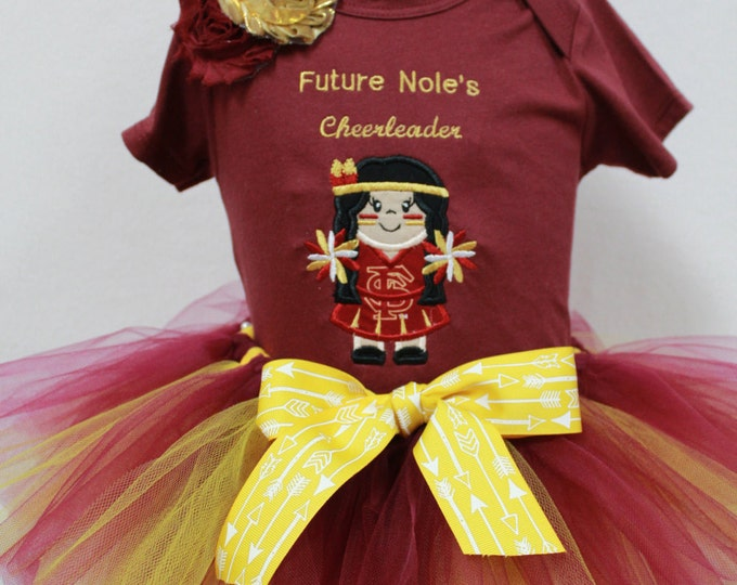 Florida State Girl outfit, FSU baby girl bodysuit,Garnet and Gold tutu, appliqued Nole cheerleader outfit, FSU headband
