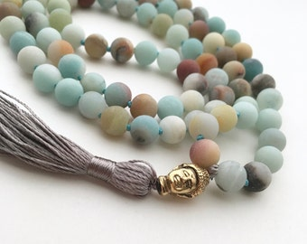 Amazonite Mala , 108 Bead Mala,Hand Knotted Necklace, Buddhist Necklace, Prayer Necklace, Meditation Jewelry, Hand Knotted Mala Buddhist