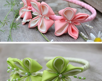 Girl headband Green baby Hair Bows Kanzashi Birthday photo prop accessory Gift for baby girl Butterfly Flower toddler headband Pink headband