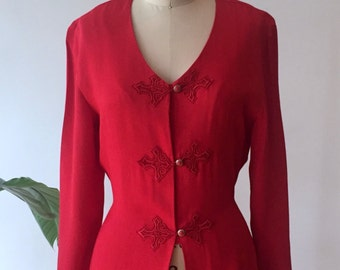 vintage red robe blouse