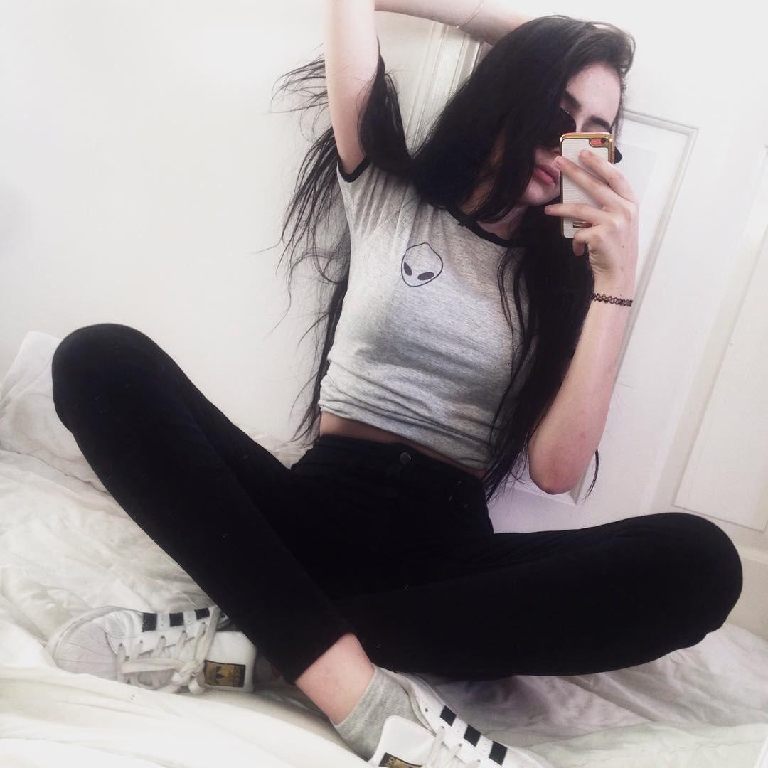 Alien Shirt Tumblr T Shirt Grunge Clothing Pocket Tee White Grey On