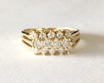 Vintage Diamond Ring .75CT, 14K Gold Vintage Rings, Diamond Anniversary Rings