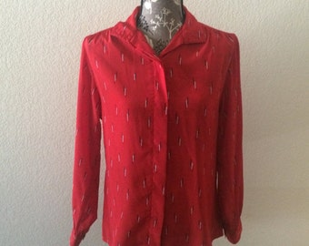 1970s Red Blouse/Vintage Red Blouse/Red Top