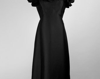 SWANSON'S 1980s Vintage Gown Evening Dress Black with Ruffles Size Germany 40-42 / UK 12-14 / Usa 8-10
