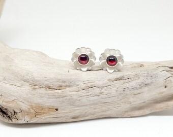 Garnet Stud Earrings - Flower Studs - Dainty Minimal Earrings - Delicate Jewelry - Teeny Studs - Mini Ear Studs - Gemstone Stud Earrings