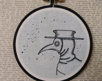 Plague doctor mask black and white embroidery hoop art gothic home decor wall art 4 inch hoop