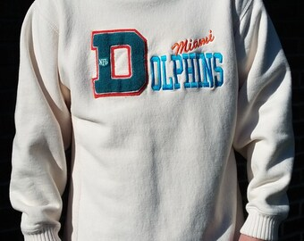 Amazing 80's / 90's textured vintage Miami Dolphins cream white turtle neck sweater Nutmeg Mills MADE in USA XL