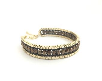 Bead Braided Bracelet, Bronze Fire Polished, Gold Chain Bracelet, Brown Leather Bracelet, Tribal, Boho, Adjustable, 13781BH
