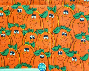 Pumpkin Fabric, Bright orange and Green Halloween Fabric, 100% Cotton,  Craft - Sewing Fabric, Remnants