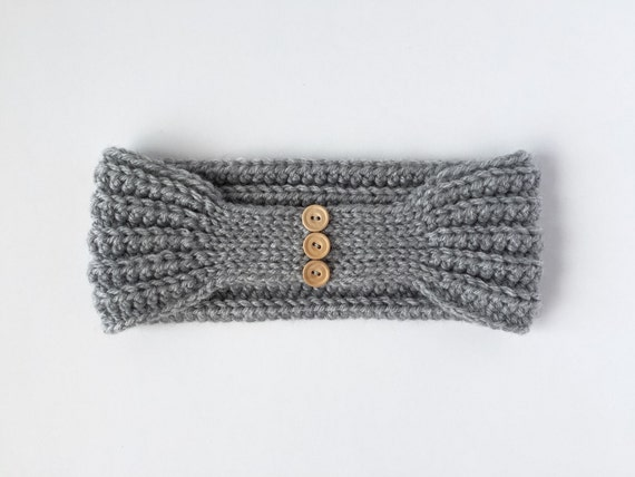 The Bailey Headband - tapered back crochet headband with buttons