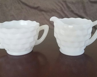 Milk Glass Sugar & Creamer Set