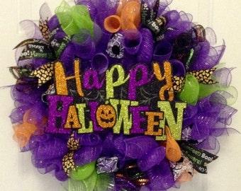 Halloween Wreath Halloween Wreaths for Front Door, Geo mesh Deco Mesh Wreath, Spider Web Ribbon, Sign Wreath, Fall Autumn Wreath