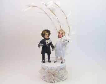 Vintage Style Spun Romantic Wedding Cake Topper OOAK
