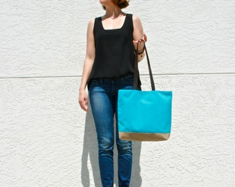 Turquoise Canvas Tote Bag with Leather Straps