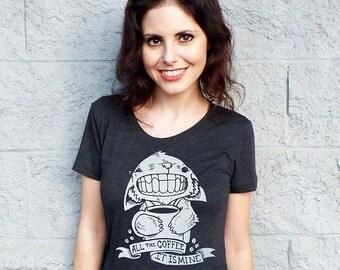 Coffee Cat Women's Tshirt - Coffee Shirt, Vegan T Shirt - Brunch Shirt, Womens Graphic Tee, Coffee Lover Gift