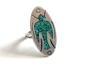 Vintage Turquoise Bird Sterling Silver Statement Ring