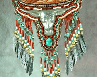Necklace, bead embroidered, western, silver, steer, cabochon, one-of-a-kind,beaded necklace