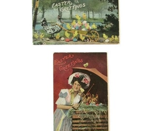 Edwardian era Easter postcards - Set of two - early 1900s - Spring - Chicks and hen