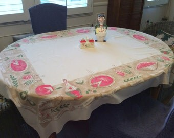 Vintage CHP Tablecloth Italian Dinner Spaghetti Pizza & Chianti