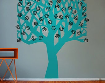 tree geometric wall decal, tree and leaves vinyl wall sticker, modern tree vinyl wall decal, FREE SHIPPING