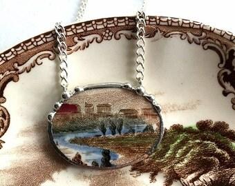 Broken china jewelry, broken china necklace - Antique English castle river transferware, broken china jewelry