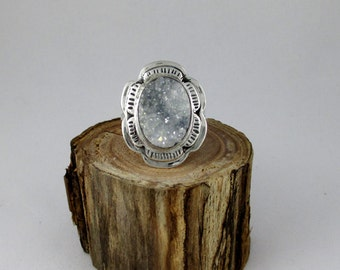 White and Grayish Blue Druzy Quartz Sterling Silver Ring